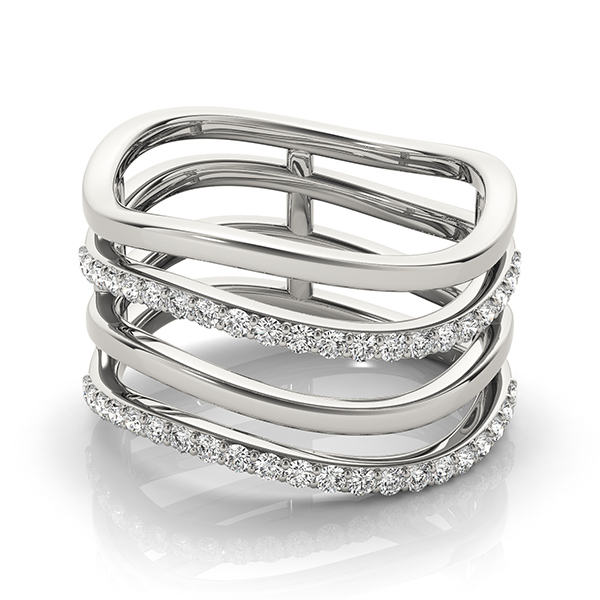 Four Row Abstract Wave Design Diamond Band