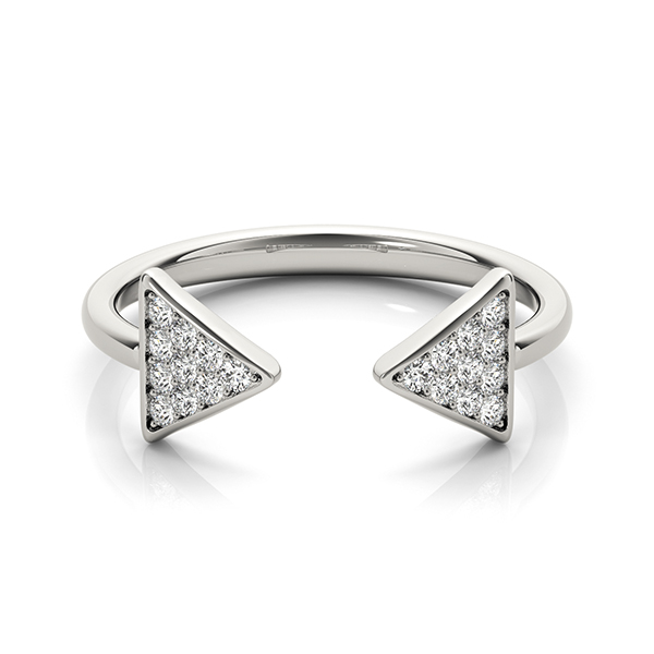 Open Band Double Trillion Pave Diamond Ring