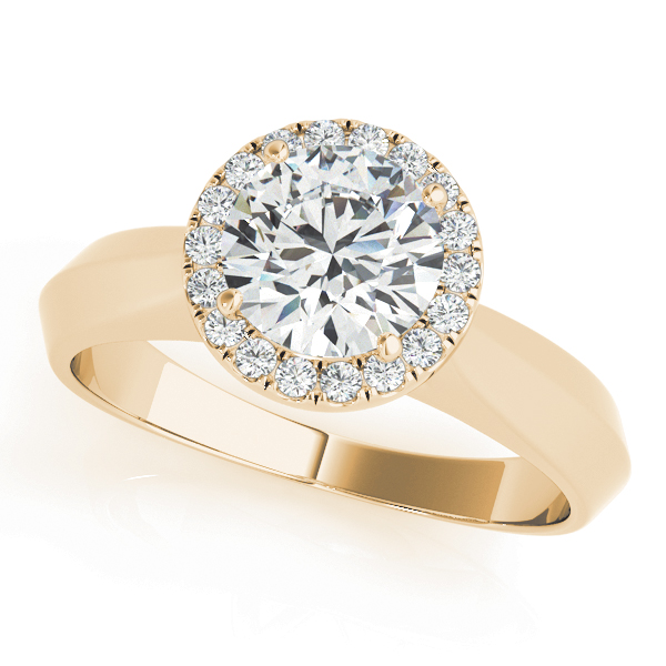 Solitaire Diamond Halo Engagement Ring in Yellow Gold