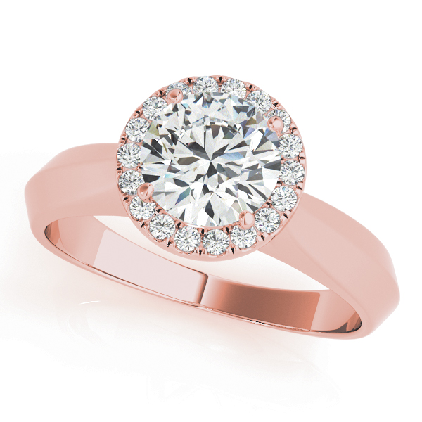 Solitaire Diamond Halo Engagement Ring in Rose Gold