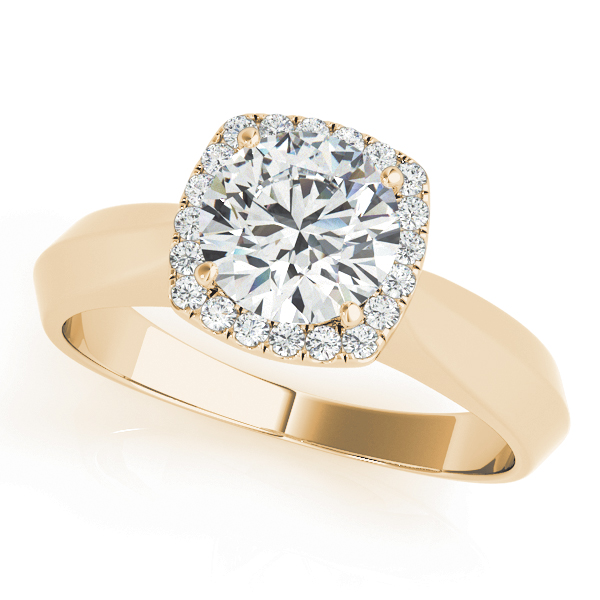 Solitaire Diamond Square Halo Engagement Ring in Yellow Gold