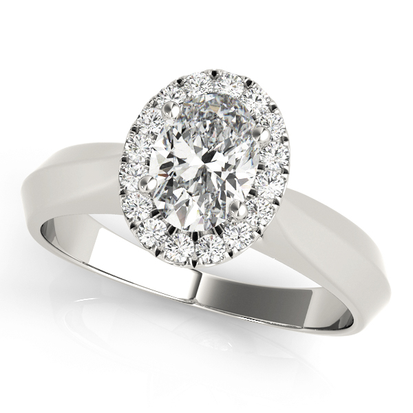 Solitaire Diamond Oval Halo Engagement Ring