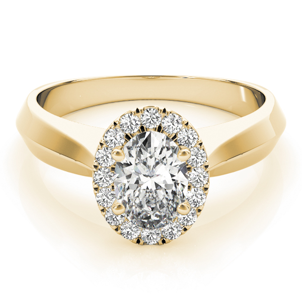 Solitaire Diamond Oval Halo Engagement Ring in Yellow Gold