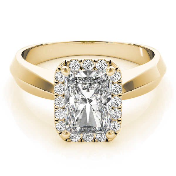 Solitaire Diamond Radiant Halo Engagement Ring in Yellow Gold