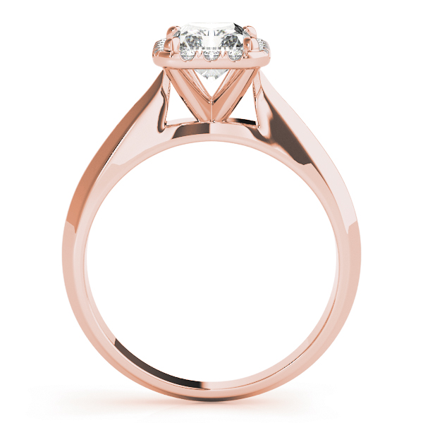 Solitaire Diamond Radiant Halo Engagement Ring in Rose Gold