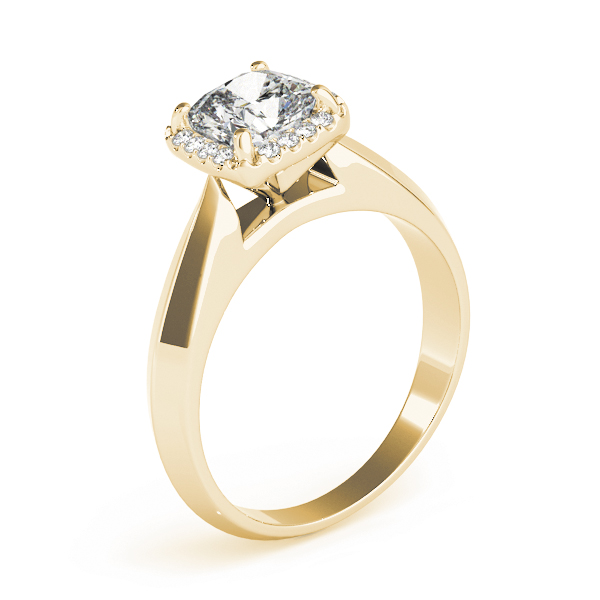 Solitaire Diamond Cushion Halo Engagement Ring in Yellow Gold