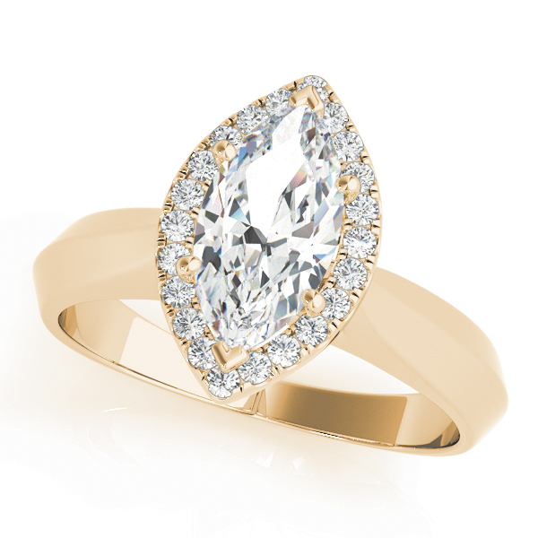 Solitaire Diamond Marquise Halo Engagement Ring in Yellow Gold
