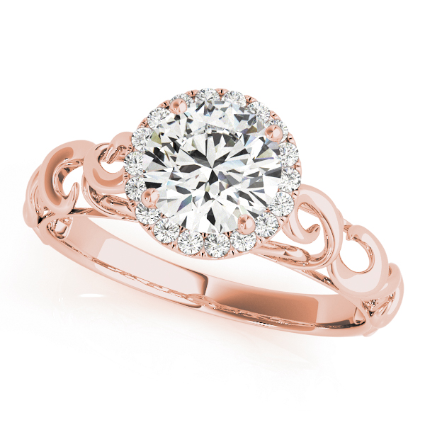 Filigree Halo Diamond Solitaire Engagement Ring in Rose Gold