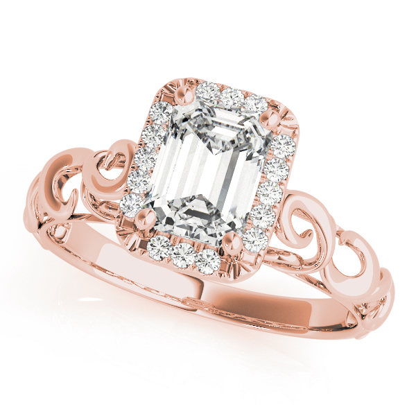 Filigree Halo Emerald Cut  Diamond Solitaire Engagement Ring in Rose Gold