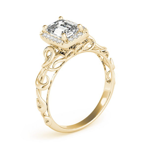 Filigree Halo Emerald Cut  Diamond Solitaire Engagement Ring in Yellow Gold