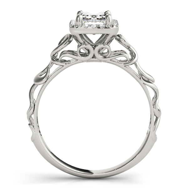 Filigree Halo Emerald Cut  Diamond Solitaire Engagement Ring