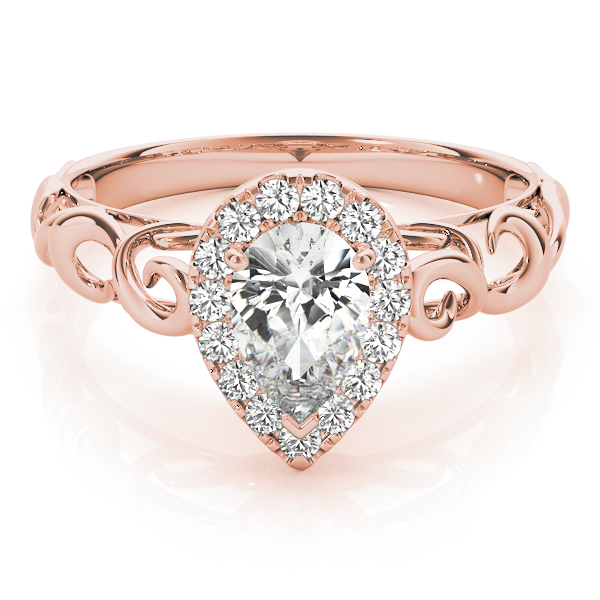 Filigree Halo Pear Shape Diamond Solitaire Engagement Ring in Rose Gold