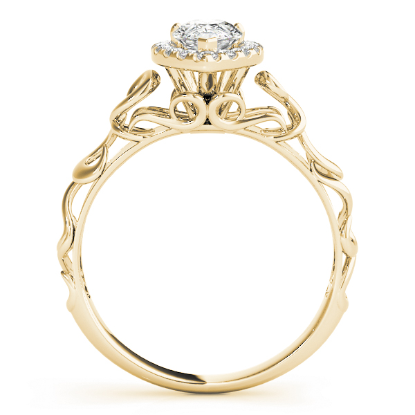 Filigree Halo Pear Shape Diamond Solitaire Engagement Ring in Yellow Gold