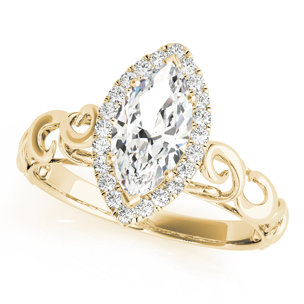 Filigree Halo Marquise Diamond Solitaire Engagement Ring in Rose Gold in Yellow Gold