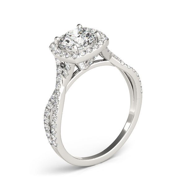 Cathedral Halo Diamond Engagement Ring Intertwined Band