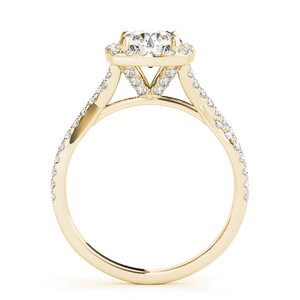 Cathedral Halo Diamond Engagement Ring Intertwined Band Yellow Gold