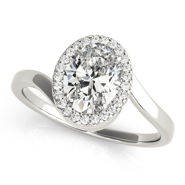 Oval Shape Diamond Swirl Halo Engagement Ring