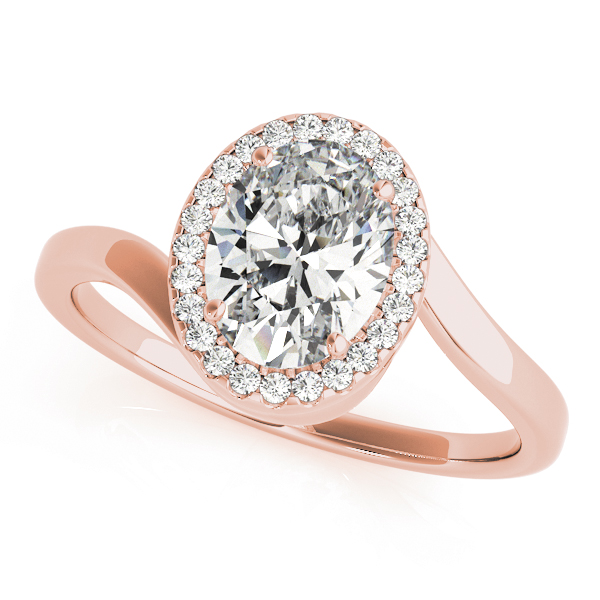 Oval Diamond Swirl Halo Engagement Ring in Rose Gold