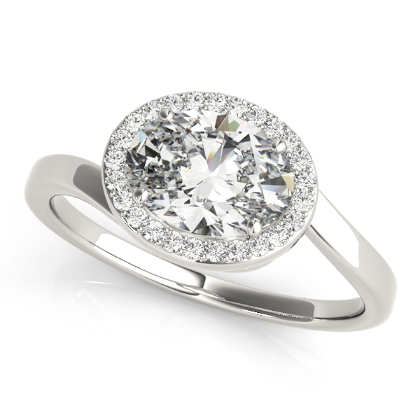 Horizontal Oval Shape Diamond Halo Engagement Ring