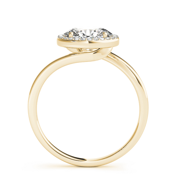 Horizontal Oval Shape Diamond Halo Engagement Ring in Yellow Gold