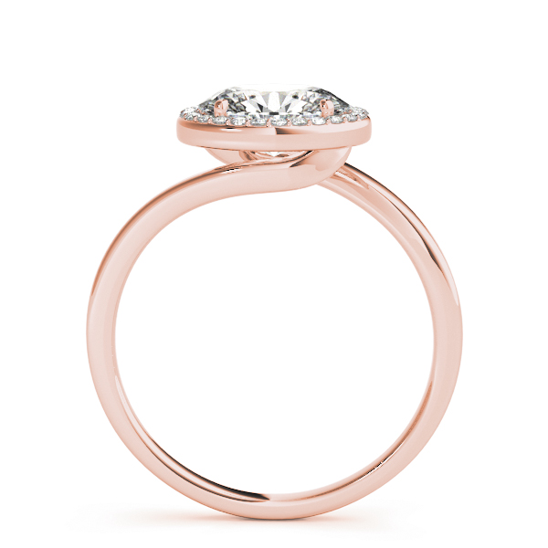 Horizontal Oval Shape Diamond Halo Engagement Ring in Rose Gold