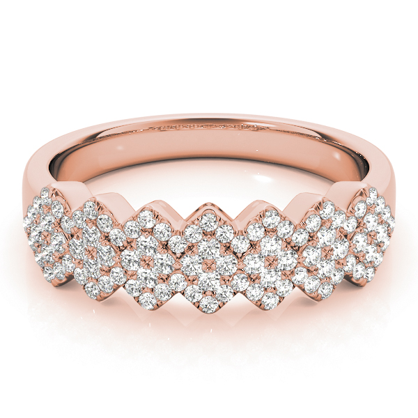 Multi-Row Pave Set Diamond Band in Rose Gold