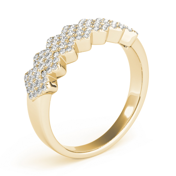Multi-Row Pave Set Diamond Band in Yellow Gold