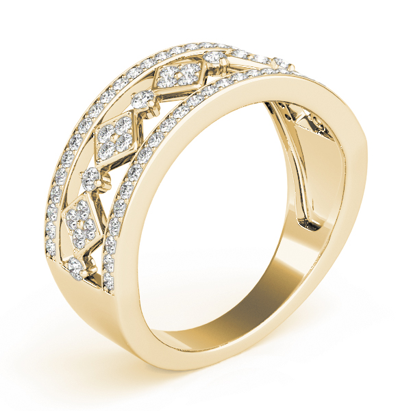 Wide Split Band Pave Set Diamond Band in Yellow Gold