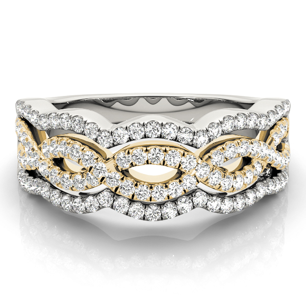 Four Row Diamond Band with Infinity Design in Two Tone Gold