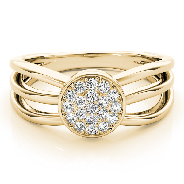Round Cluster Tri Band Yellow Gold