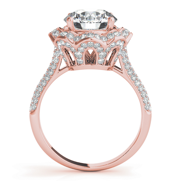 Etoil Royal Halo Engagement Ring Large Engagement Ring Rose Gold