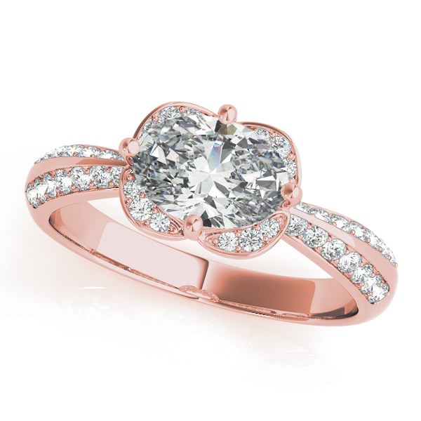 Horitzontal Floral Halo Engagement Ring in Rose Gold
