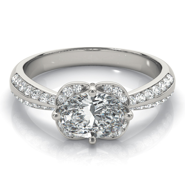 Horizontal Floral Halo Engagement Ring