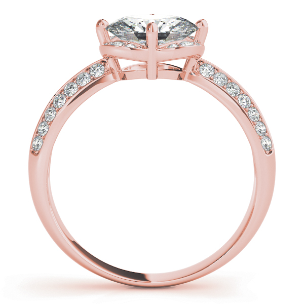 Horizontal Floral Halo Engagement Ring in Rose Gold
