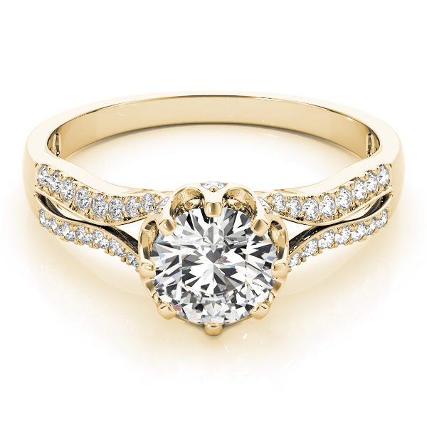 Crown Diamond Split Band Engagement Ring in 14K Yellow Gold