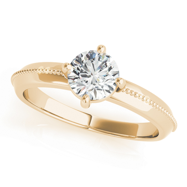 Low Profile Knife Edge Solitaire Engagement Ring in Yellow Gold