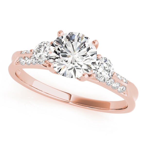 Three Stone Diamond Engagement Anniversary Ring, Knife Edge Band in Rose Gold