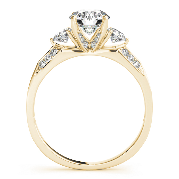 Three Stone Diamond Engagement Anniversary Ring, Knife Edge Band Yellow Gold