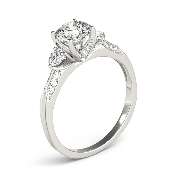 Three Stone Diamond Engagement Anniversary Ring, Knife Edge Band
