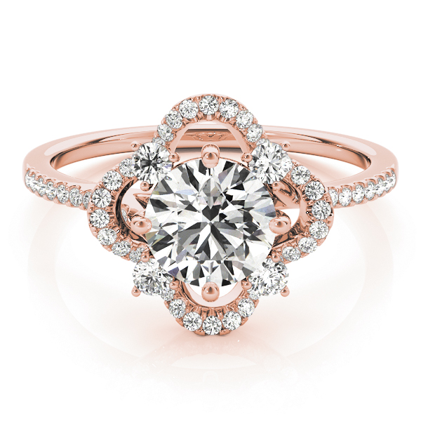 Cathedral Floral Diamond Halo Engagement Ring in Rose Gold