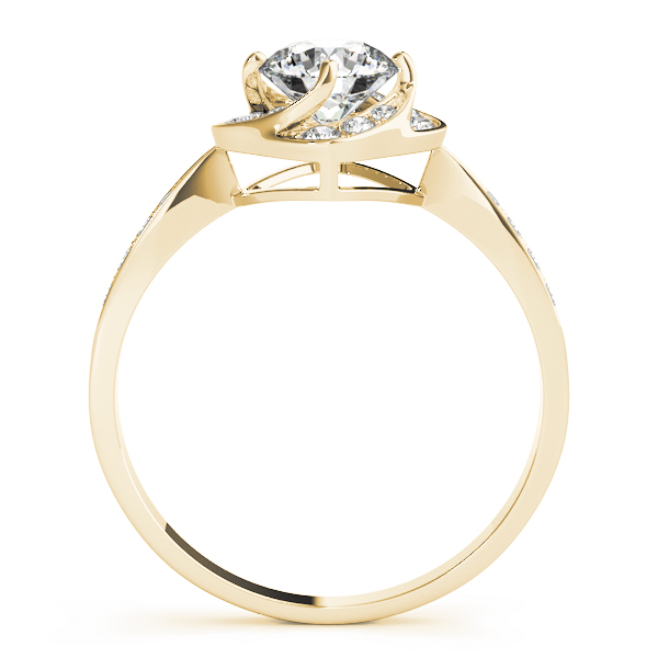 Swirl Halo Flower Diamond Engagement Ring in Yellow Gold
