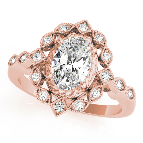 Oval Swing Halo Diamond Engagement Ring in Rose Gold