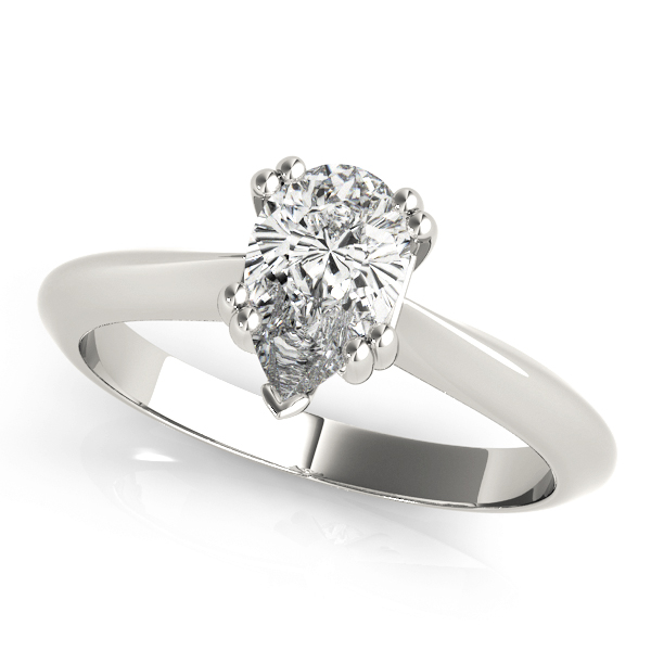 Pear Shaped 	Solitaire Petite Knife Edge Engagement Ring