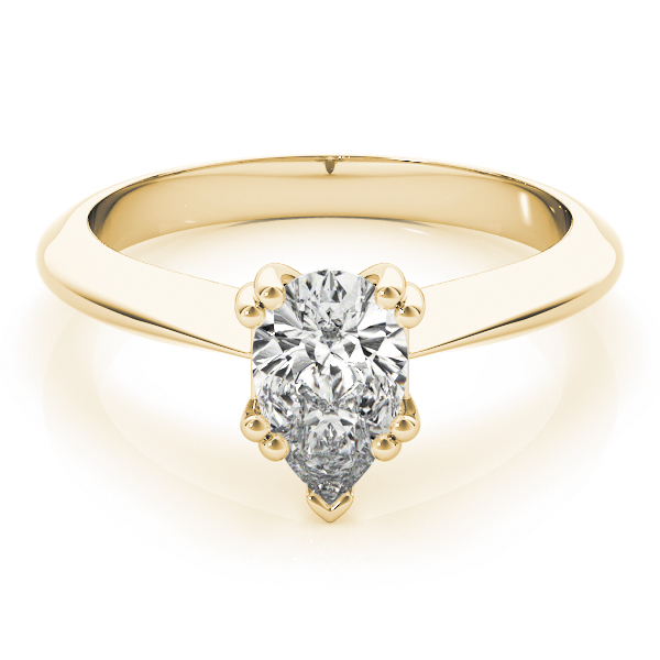 Pear Shaped 	Solitaire Petite Knife Edge Engagement Ring in Yellow Gold