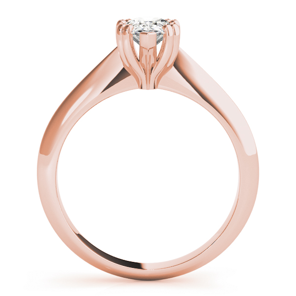 Pear Shaped 	Solitaire Petite Knife Edge Engagement Ring in Rose Gold