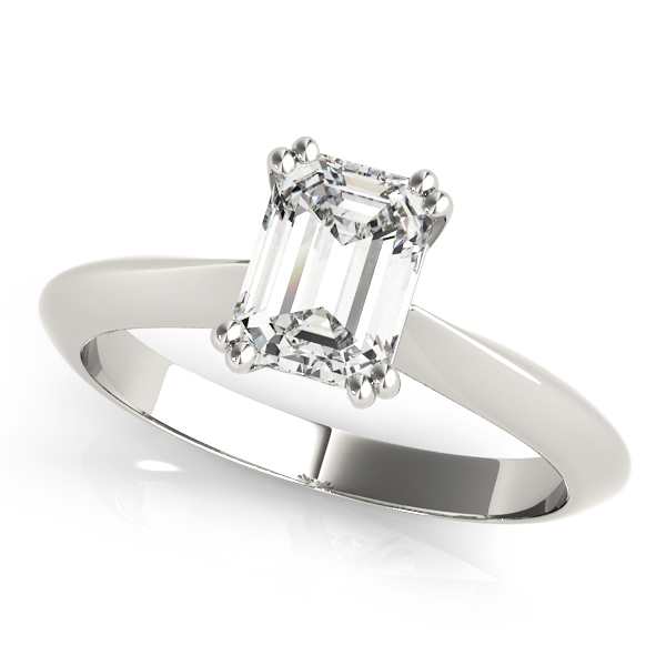 Emerald Cut 	Solitaire Petite Knife Edge Engagement Ring