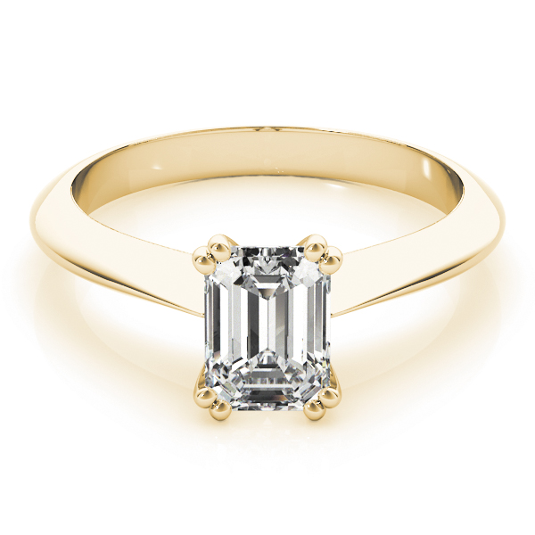 Emerald Cut 	Solitaire Petite Knife Edge Engagement Ring in Yellow Gold