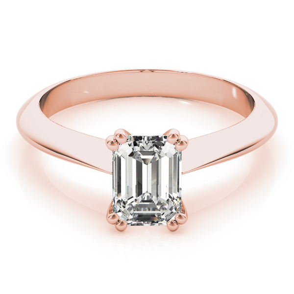 Emerald Cut 	Solitaire Petite Knife Edge Engagement Ring in Rose Gold