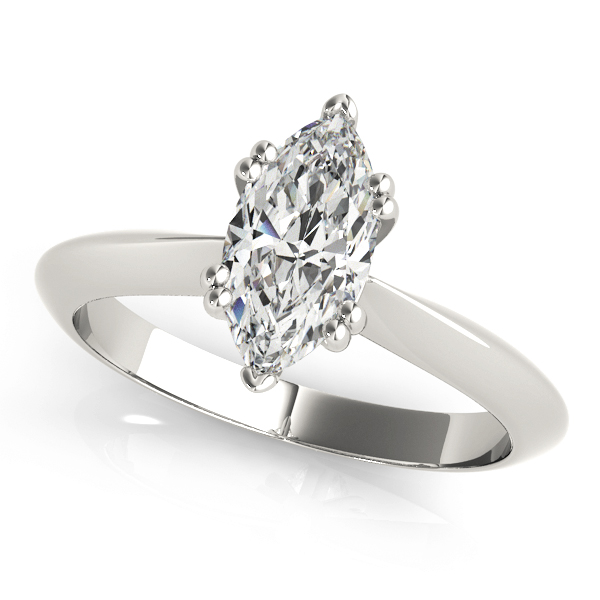 Marquise Cut 	Solitaire Petite Knife Edge Engagement Ring