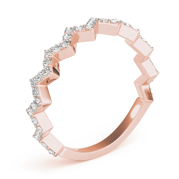 Herringbone Diamond Rose Gold Stackable Ring